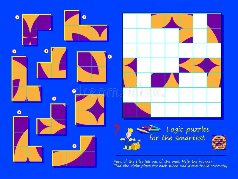 Logic puzzle game for children and adults. Part of tiles fell out of wall. Help the worker, find places and draw all of them. Page for brain teaser book stock illustration