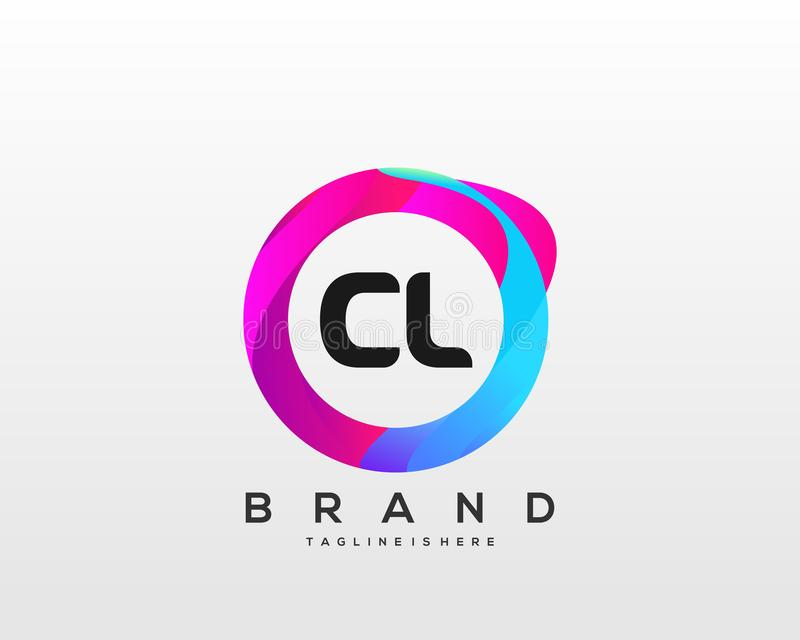 Initial letter CL logo with colorful circle background, letter combination logo design for creative industry, web, business. Initial logo with colorful circle vector illustration