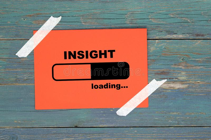 Insight on paper. Insight word on paper and wood royalty free illustration
