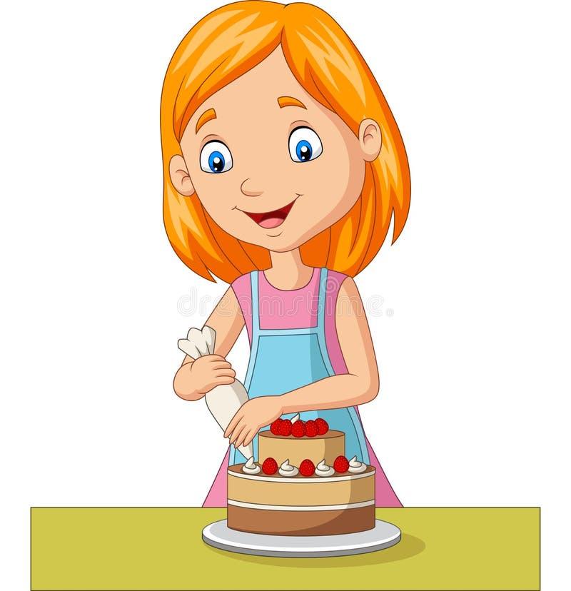 Cartoon girl decorating a cake stock illustration