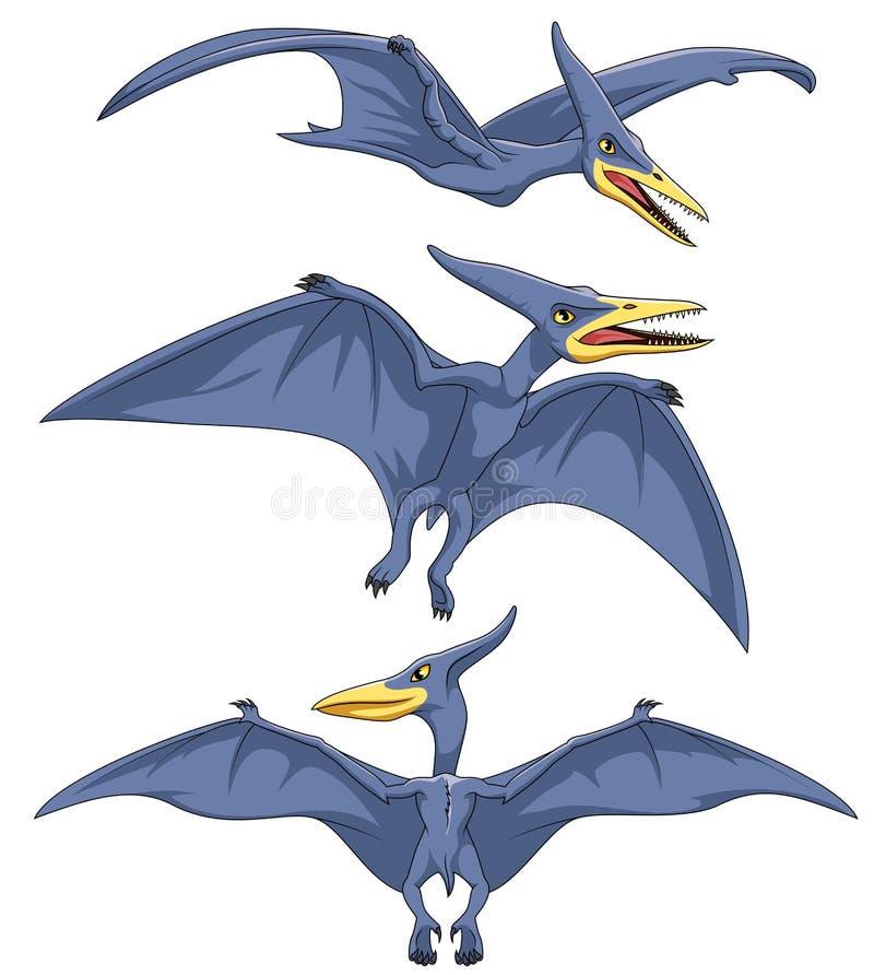 Cartoon Pterodactyl collection set. Illustration on white background stock illustration