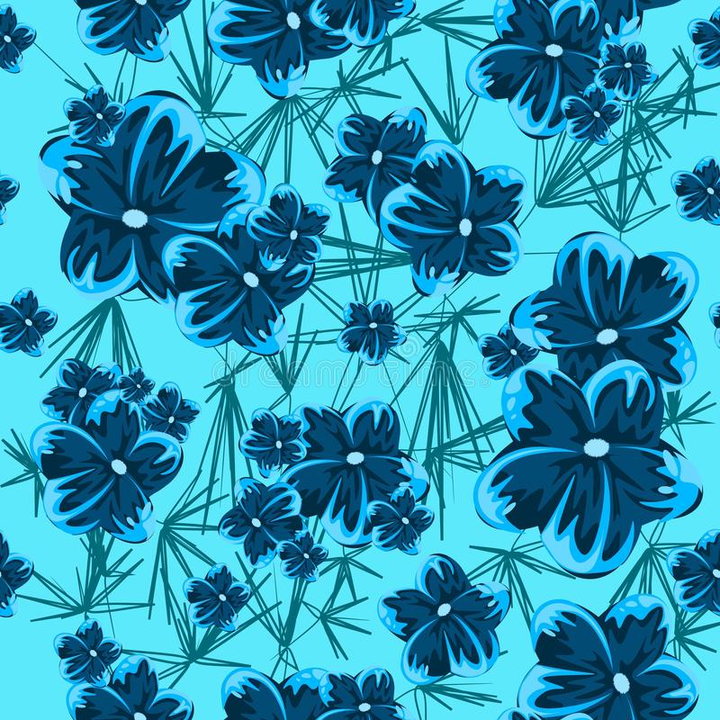 Blue hibiscus spring blue flowers seamless pattern. Illustration of hawaiian tropical plants royalty free illustration