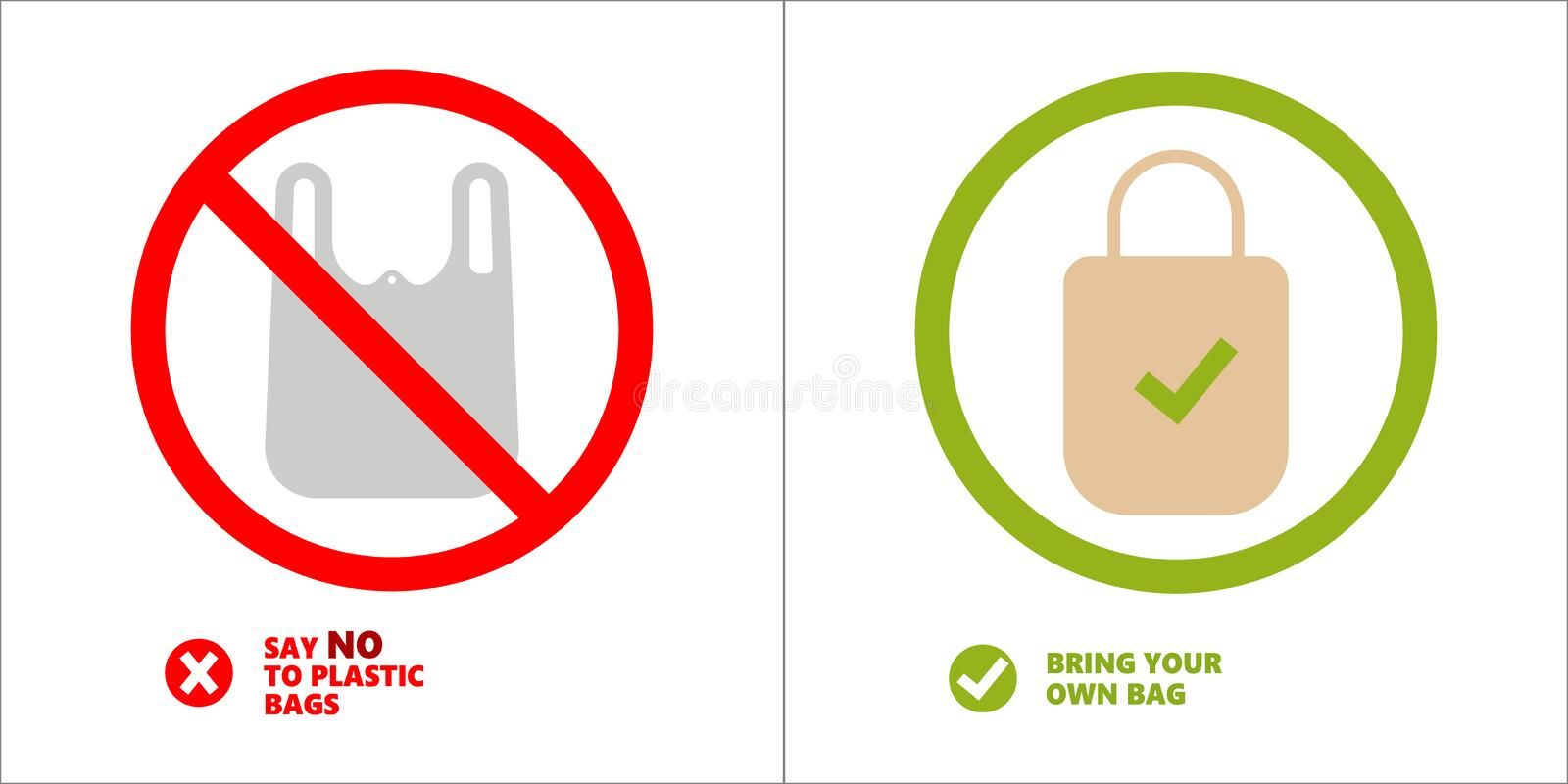 Pollution problem concept. Say no to plastic bags, bring your own textile bag. Cartoon styled images with signage calling royalty free stock photo