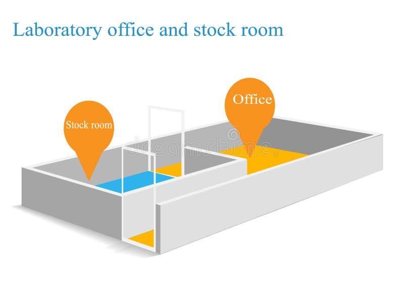 Laboratory room isometric stock image