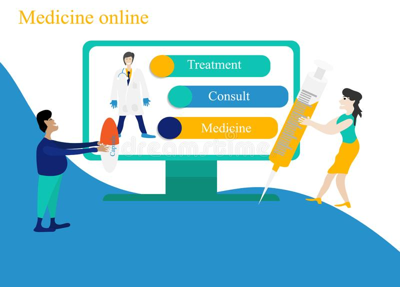 Doctor online vector royalty free stock images