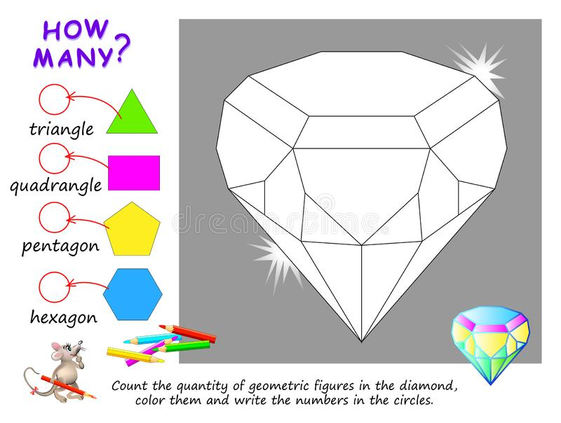 Educational page for children on math. Count the quantity of geometric figures in diamond, color them and write numbers. stock illustration