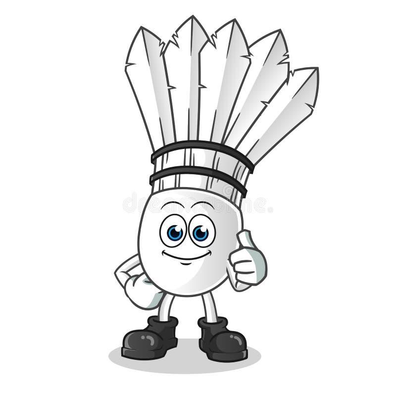 Shuttlecock thumbs up cartoon vector mascot illustration royalty free stock photos