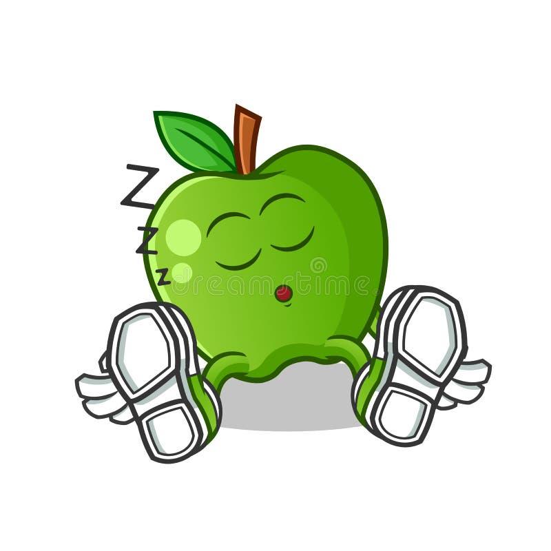 Green apple sleep mascot vector cartoon illustration royalty free stock photo