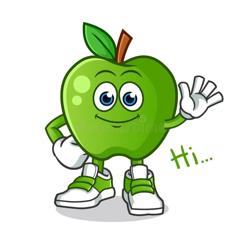 Green apple waving mascot vector cartoon illustration royalty free stock photo