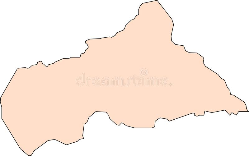 Map of Central African Republic with black contour lines royalty free illustration