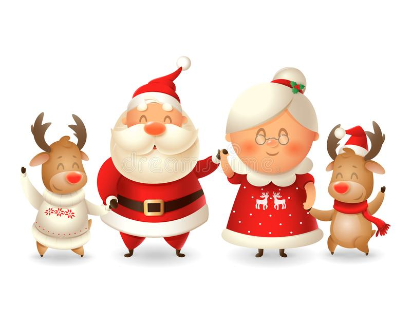 Santa Claus his wife Mrs Claus and two Reindeer celebrate winter holidays - vector illustration isolated on transparent background. Santa Claus his wife Mrs royalty free illustration