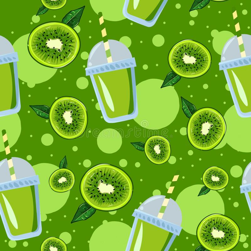 Kiwi slices with leaves and lemonade green juice in a cup with a straw seamless pattern. Illustration of summer exotic fruits stock illustration
