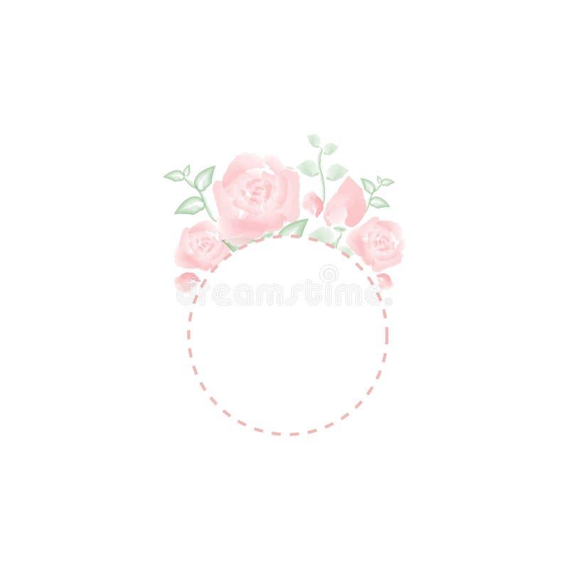 Watercolor rose vintage vector frame for invitation cards. stock illustration