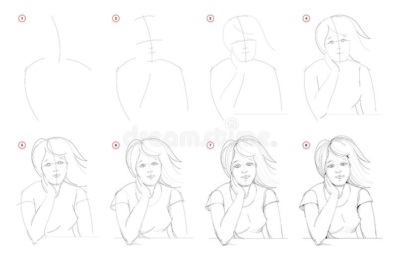 How to draw from nature step by step sketch of young women portrait. Creation pencil drawing. Educational page for artists. stock illustration