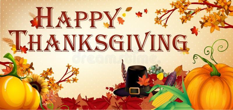 Happy Thanksgiving banner leaves and pumpkins. Happy thanksgiving, thanksgiving, vector, leaves, fall, pumpkin, pilgram hat, corn, illustration royalty free illustration