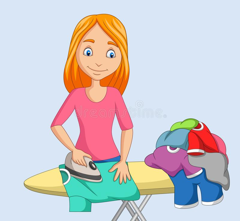 Young woman ironing clothes vector illustration