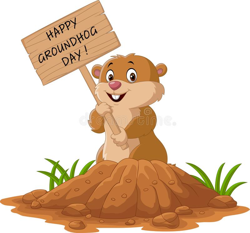 Happy groundhog day. Funny groundhog holding wooden sign vector illustration