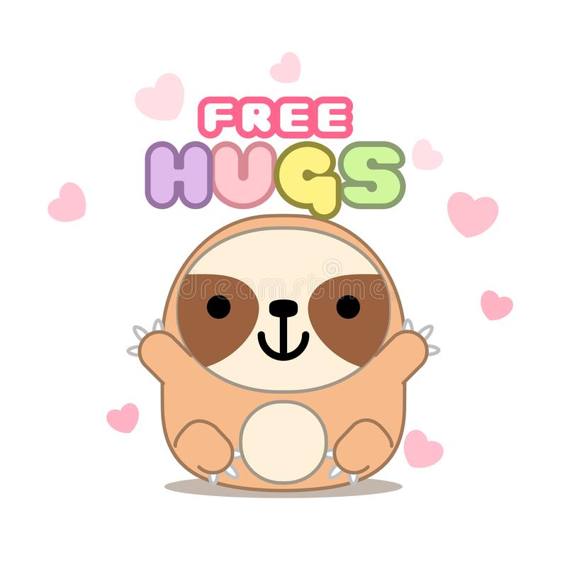 Cute cartoon sloth animal character says `Free hugs`, isolated on white background. Can be used for cards, flyers, posters, t-shir stock illustration