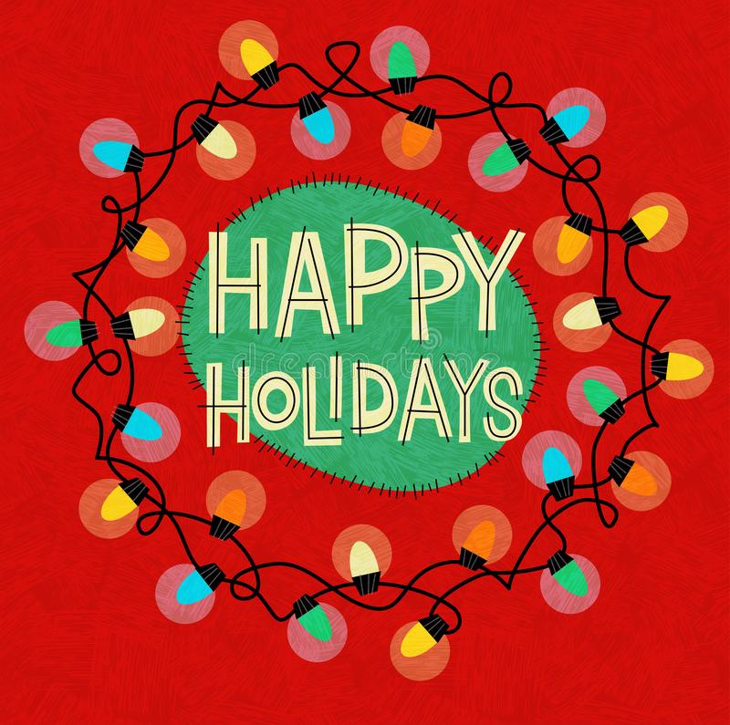 Happy Holidays greeting with string of Christmas lights in a circle on red background. Vector illustration for greeting cards, banners, gift tags. Retro style stock illustration