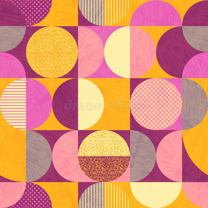 Seamless abstract geometric modern pattern. Retro bauhaus design of circles, squares and textures. Use for backgrounds, fabric design, wrapping paper stock illustration