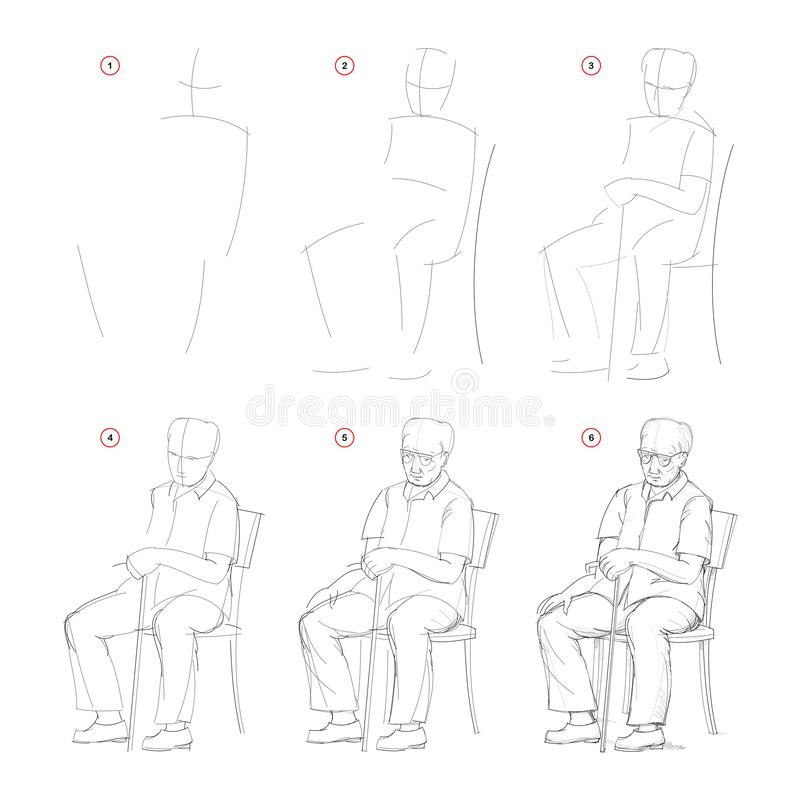 How to draw from nature sketch of sitting old man. Creation step by step pencil drawing. Educational page for artists. School textbook for developing artistic vector illustration