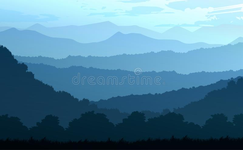Natural forest trees mountains horizon hills Sunrise and sunset Landscape wallpaper Illustration vector style Colorful background. Natural forest trees mountains stock illustration