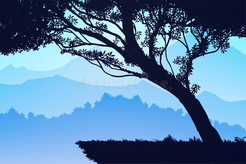 Nature forest Natural Pine forest mountains horizon Landscape wallpaper Sunrise and sunset Illustration vector style Background royalty free illustration