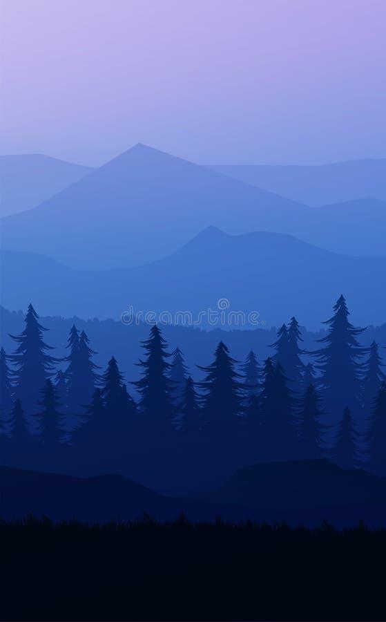 Nature forest Natural Pine forest mountains horizon Landscape wallpaper Sunrise and sunset Illustration vector style Background vector illustration