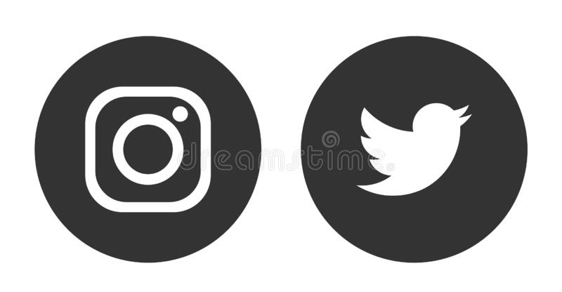 Set of popular social media logos icons Instagram and Twitter flat simple element vector design for web internet communication stock illustration