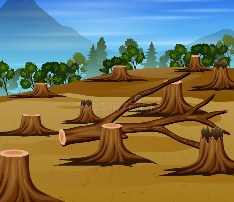 Deforestation scene with chopped woods illustration. Illustration of Deforestation scene with chopped woods illustration royalty free illustration