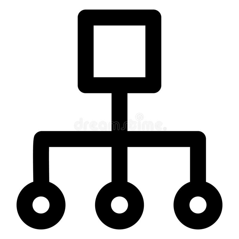 Hierarchy, network Bold Outline Vector icon which can easily modified or edited stock illustration