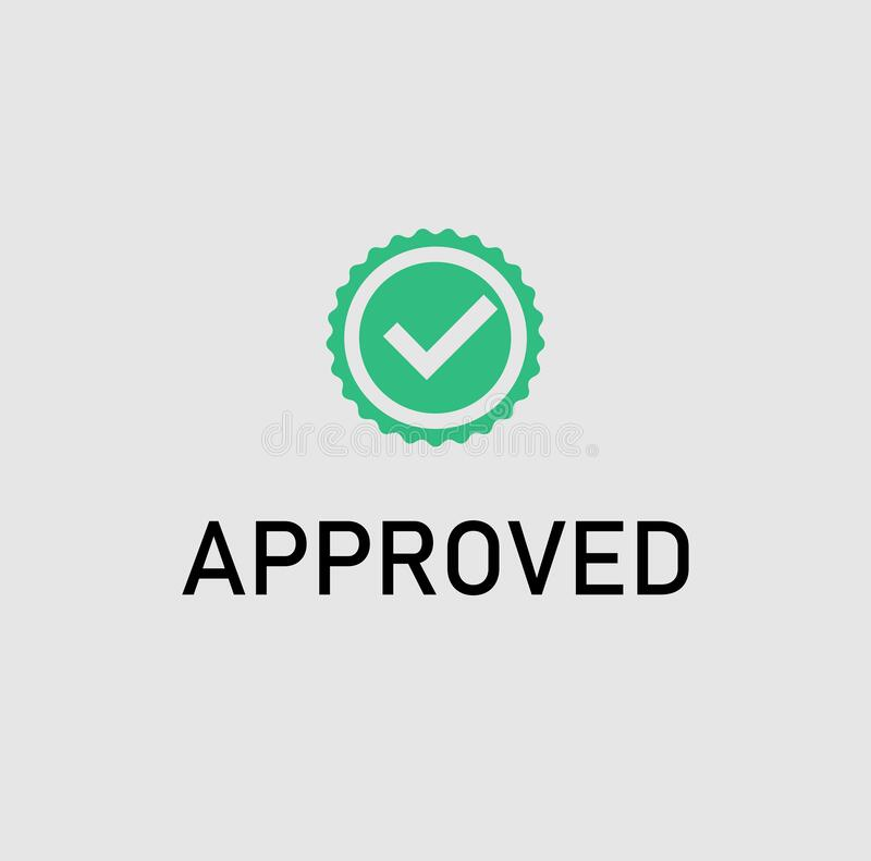 Approved icon in vector file. Approved sign with vector file in vector green colored isolated stock illustration