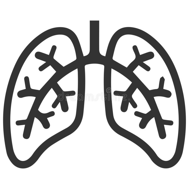 Lungs sign in vector file. Lungs icon in vector file black with white  background isolated lungs icon in vector file black with white  background isolated royalty free illustration