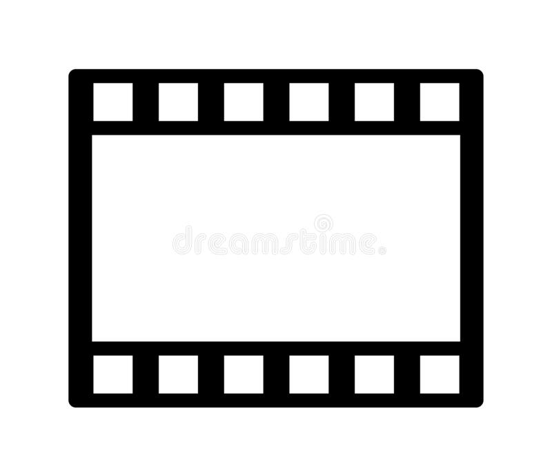 Film strip. Simple vector filled flat in film roll or reel strip icon solid black pictogram isolated on white background royalty free illustration