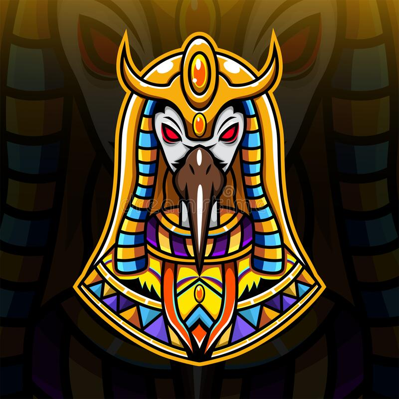 Thoth head esport logo design. Thoth head esport mascot logo design royalty free illustration