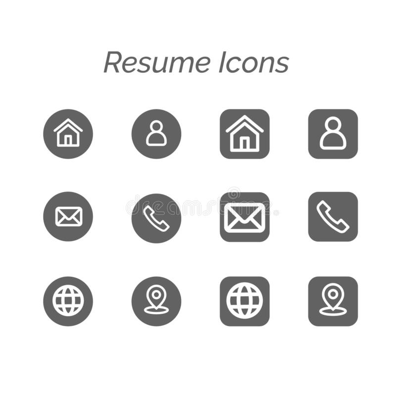contact icons for resume stock vector  illustration of icons