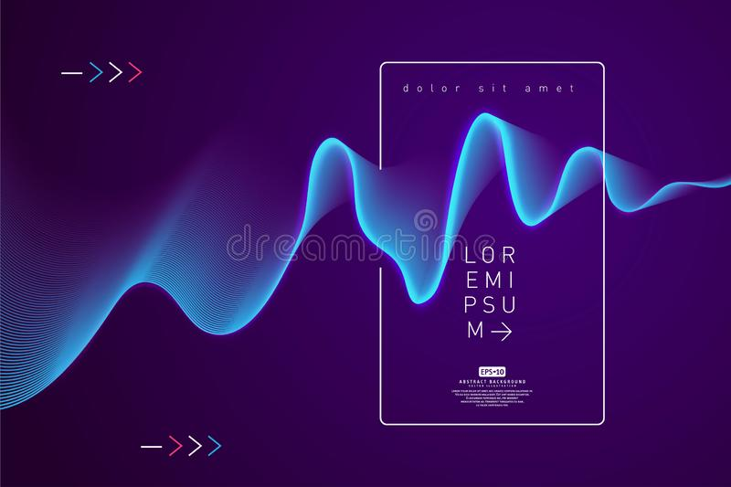 Abstract shining wave background poster template. Wavy abstract background. Waves abstract computer-generated image with copy space. Waves and glowing curves royalty free illustration