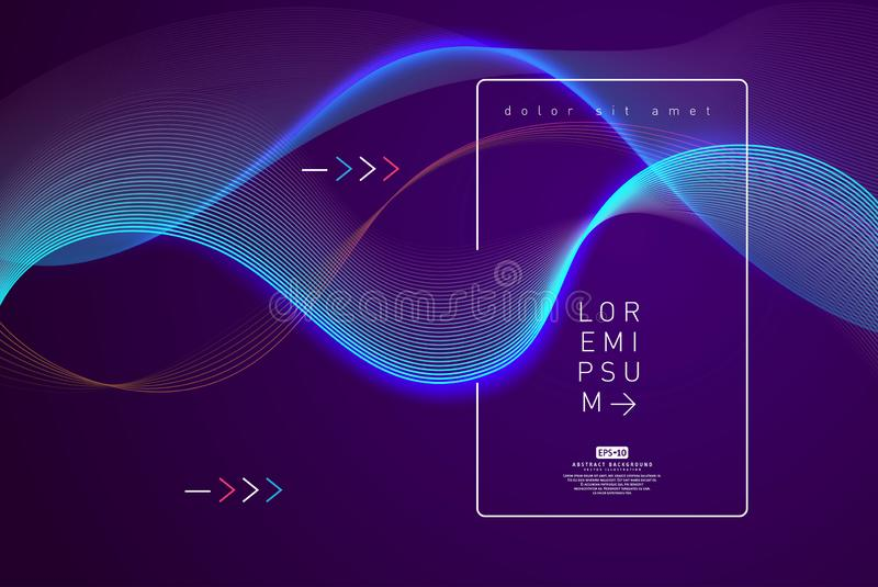 Abstract shining wave background poster template. Wavy abstract background. Waves abstract computer-generated image with copy space. Waves and glowing curves stock illustration