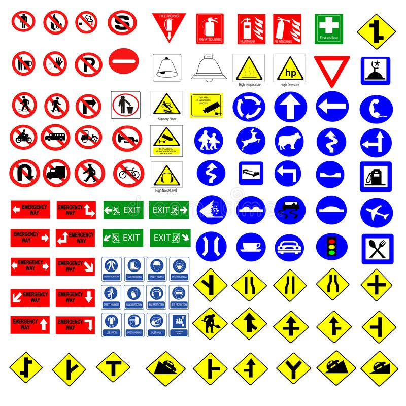 All Collection of warning, mandatory, prohibition and information traffic signs, Vector illustration vector illustration