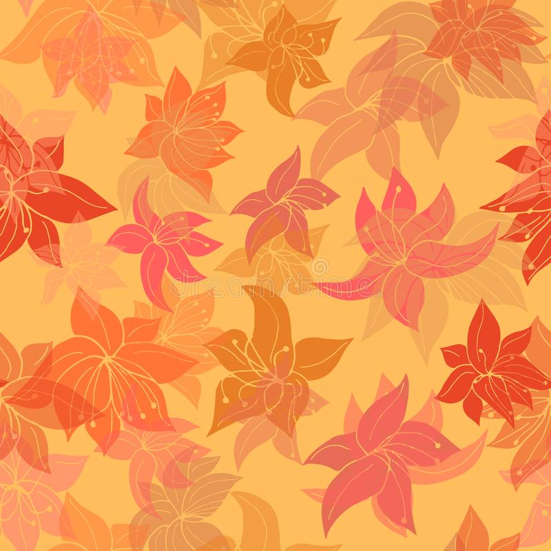 Basic RGB. Beautiful seamlessly repeating pattern of fire flowers in flight, on golden orange background - Vector. Suitable for use in crafting, material stock illustration
