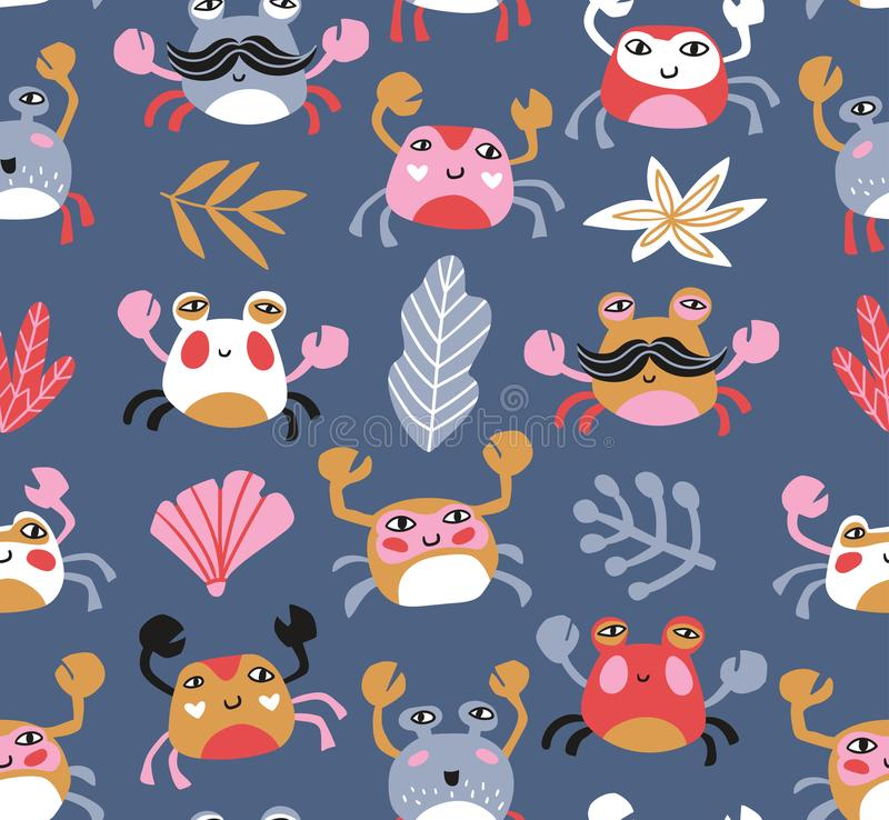 Fabric design with crabs and sea plants. Sea repeated print for kids design. Vector seamless pattern. Bright baby fabric design with crabs and sea plants. Sea stock illustration