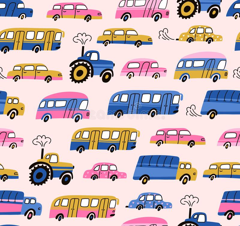 City cars, tractors and publish vehicles transport.Vector seamless pattern. Traffic jam. Cute baby boy design for fabric, wallpape royalty free illustration