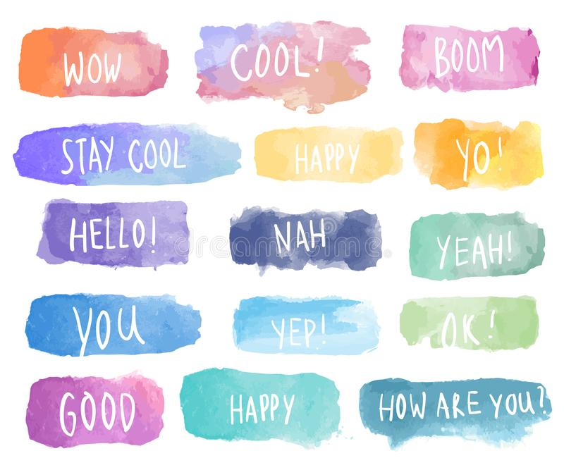 Colorful collection of watercolor patches vector vector illustration