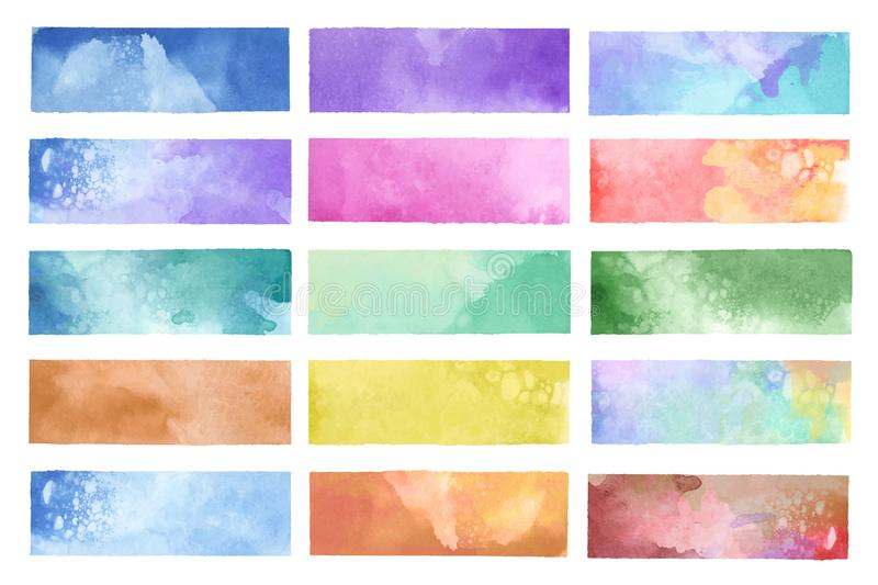 Colorful painted watercolor backgrounds vector stock illustration