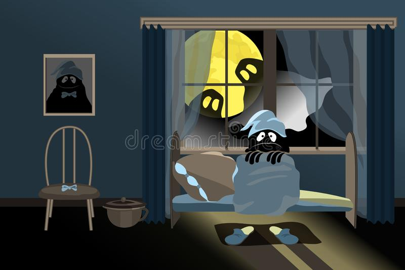 Cute little monster. Cute little monster sitting on the bed and afraid. Two ghosts look at him from the window. Outside the window the night and the bright vector illustration