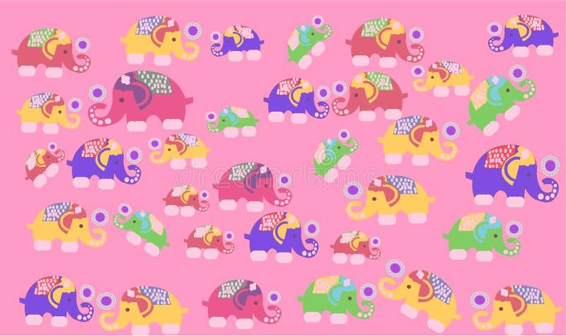 Basic RGB, Elephant Painting Background stock illustration