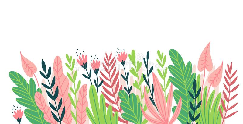 Horizontal design element for card, invitation or flyer. Natural frame. Vector illustration with flowers and tropical leaves stock illustration