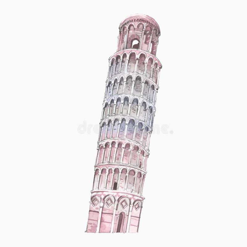 The Leaning Tower of Pisa painted by watercolor stock illustration