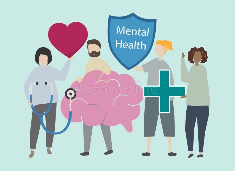 Mental health and disorder illustration royalty free illustration