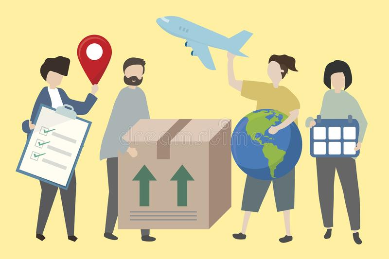 People showing methods of worldwide shipping with various symbols illustration royalty free illustration